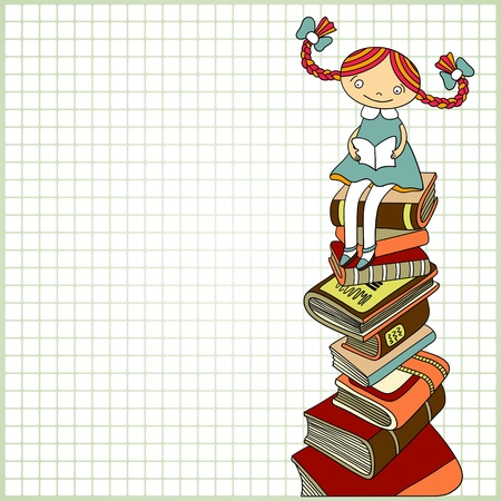 Sketchy vector of schoolgirl sitting on the heap of books and reading one of them on paper in a cell background with place for your text. Color version  Vector