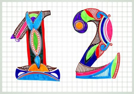 sketchy illustration: Sketchy Numbers Vector Illustration