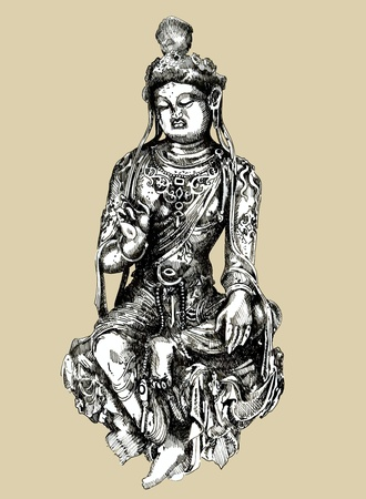 buddha tranquil: Sketchy drawing of historical Bodhisattva sculpture (China, 7th century).