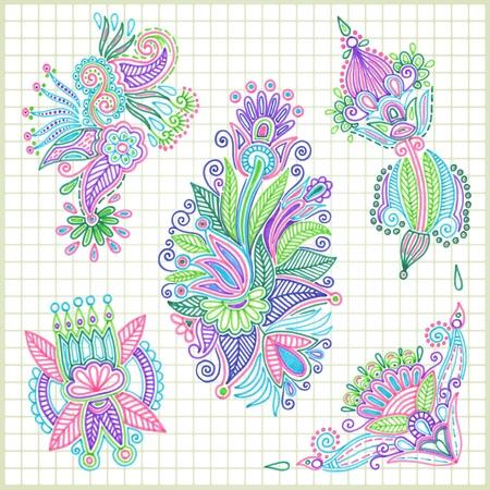 hand draw doodle vector flower element set