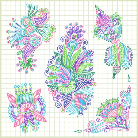 hand draw doodle vector flower element set  Vector