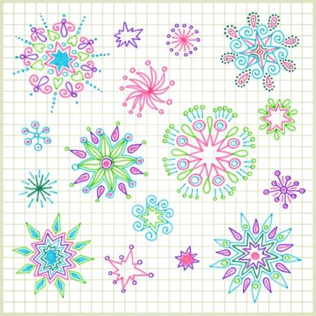 hand draw doodle vector star element set  Illustration