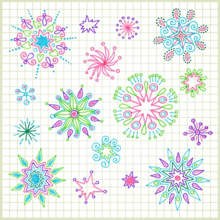hand draw doodle vector star element set  Vector