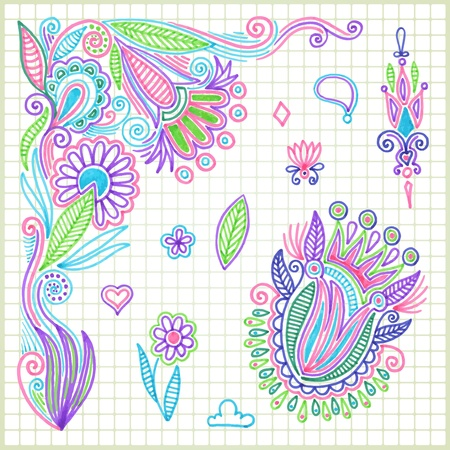 pen and marker: hand draw doodle vector flower element