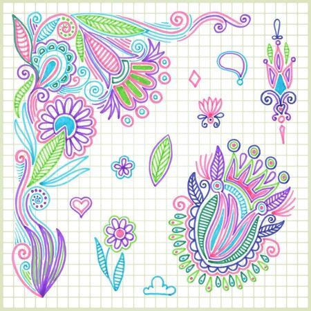 marcador: mano de la cuerda elemento de dibujo vector de la flor Vectores