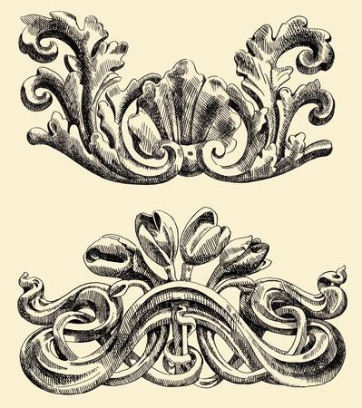 19th: Series - The reliefs of the 19th century Kiev buildings (Ukraine) Illustration
