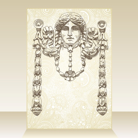 aristocratic: Flayer ornate design with reliefs of the 19th century Kiev buildings (Ukraine) Illustration
