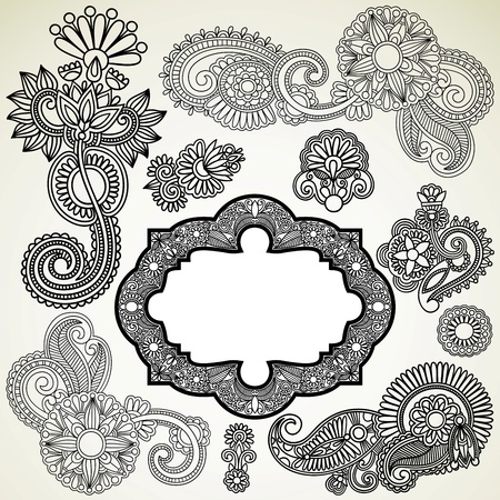 foliate: hand draw black flowers and frames elements  Illustration