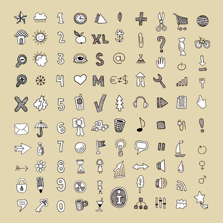 option key: hand draw doodle vector icon set