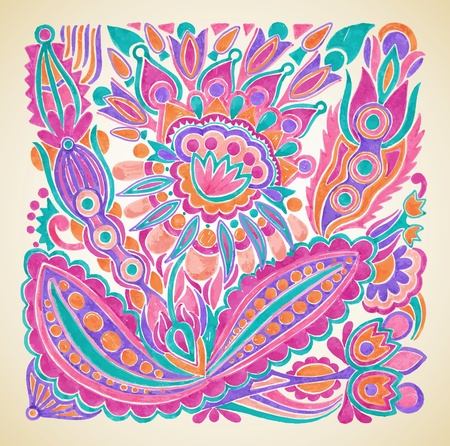 national cultures: hand draw marker flower vector ethnic design. Ukrainian traditional painting