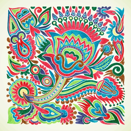 folk culture: hand draw marker flower vector ethnic design. Ukrainian traditional painting