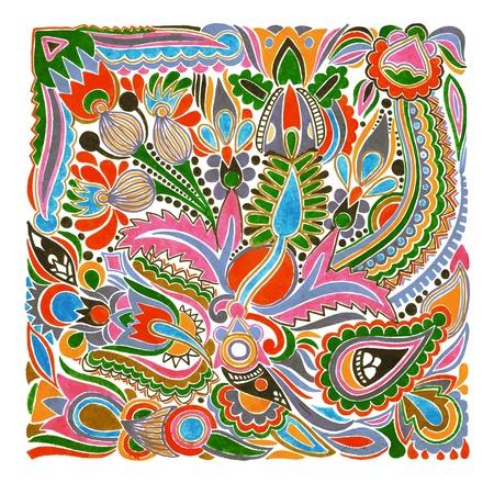 folk art: hand draw marker flower vector ethnic design. Ukrainian traditional painting