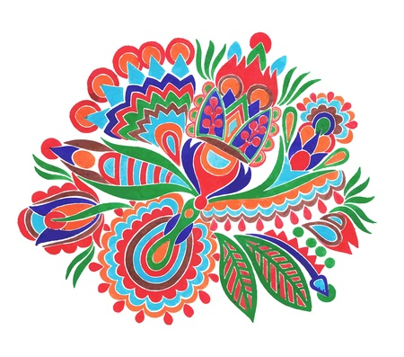 hand draw marker flower vector ethnic design. Ukrainian traditional painting  Vector