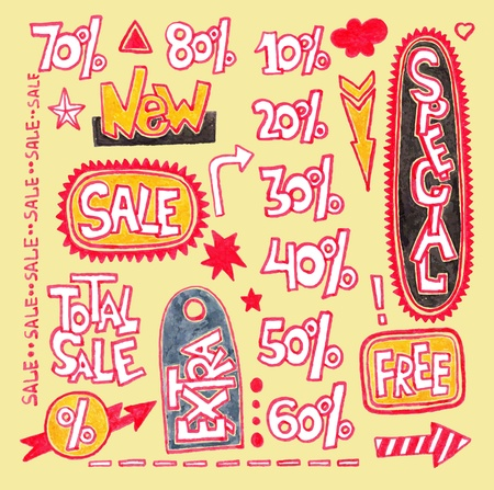 Set of hand draw discount sale stickers and tags Stock Vector - 11638811