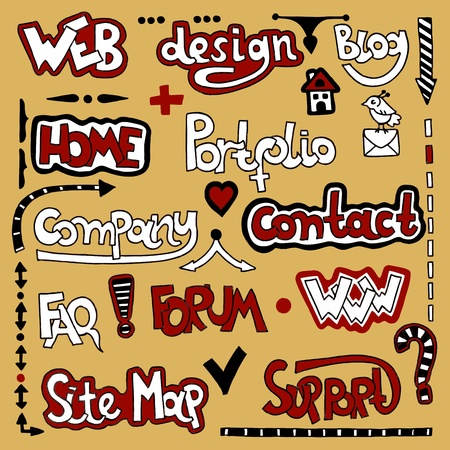 Set of hand draw lettering web design element Stock Vector - 11638769