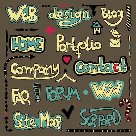 Set of hand draw lettering web design element  Stock Vector - 11638768