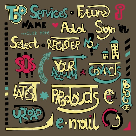 Set of hand draw lettering web design element Stock Vector - 11638758
