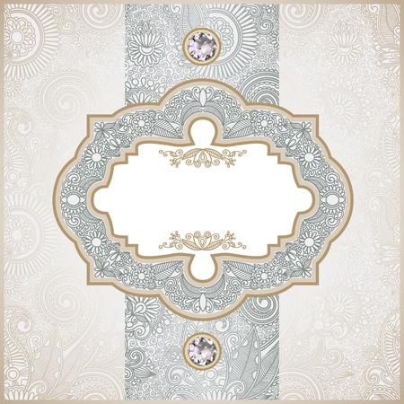 gem: vintage template with diamond stone  Illustration