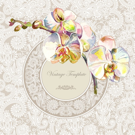 watercolor flower: vintage template with watercolor orchid flower