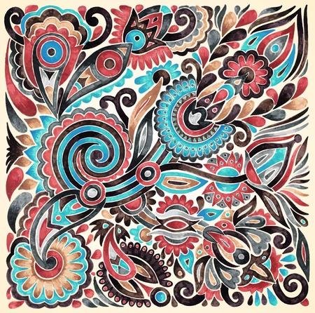 этнический: ничья рука маркер цветок вектор этнического дизайна. Украинская традиционная живопись Иллюстрация