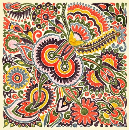 folk culture: dibujar a mano de flores vector marcador �tnico de dise�o. La pintura tradicional de Ucrania Vectores