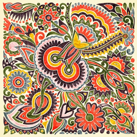 hand draw marker flower vector ethnic design. Ukrainian traditional painting Stock Vector - 11638910