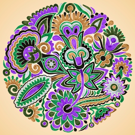 hand draw marker flower vector ethnic design. Ukrainian traditional painting  Stock Vector - 11638900