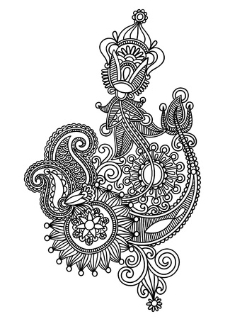 indian tattoo: Hand draw line art ornate flower design. Ukrainian traditional style.  Illustration