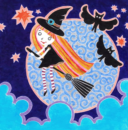 harridan: Hand draw halloween marker postcard with witch little girl  Illustration
