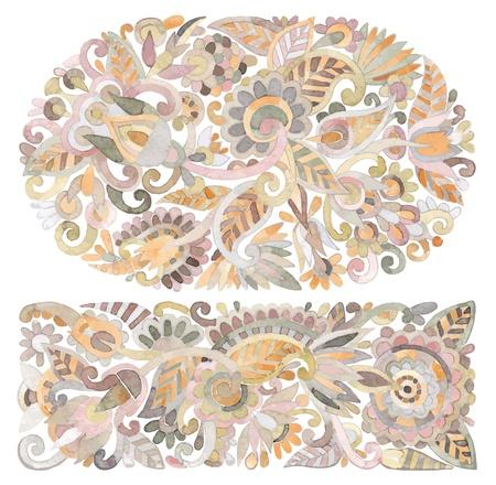 hand draw watercolor flower vector ethnic design. Ukrainian traditional painting Stock Vector - 11638902