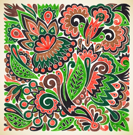 indigenous: hand draw marker flower vector ethnic design. Ukrainian traditional painting