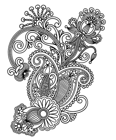 paisley floral: Hand draw line art ornate flower design. Ukrainian traditional style.  Illustration