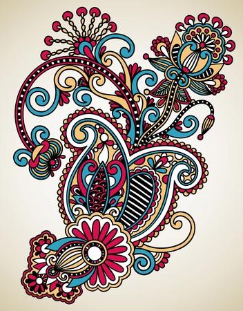 hindi: Mano disegnare line art ornato di fiori di progettazione. Ucraino stile tradizionale.