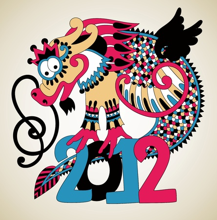 mythical festive: 2012 Year of the Dragon. Hand draw color vector illustration