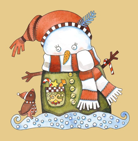 Christmas design. Watercolor snowman Stock Vector - 11638844