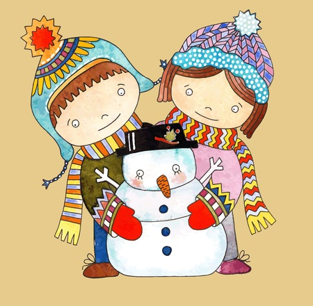 Christmas design. Watercolor snowman with boy and girl  Vector