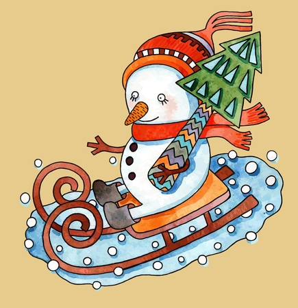 Christmas design. Watercolor snowman with christmas tree in sledges  Vector