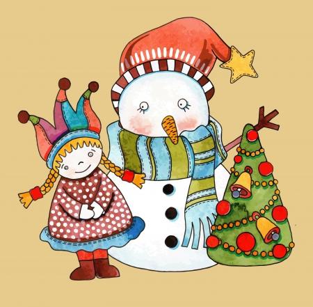 Christmas design. Watercolor snowman with girl and christmas tree  Vector