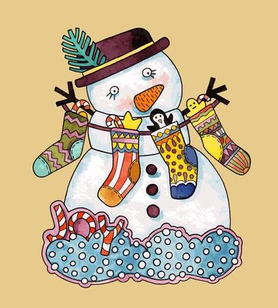 Christmas design. Watercolor snowman  Vector