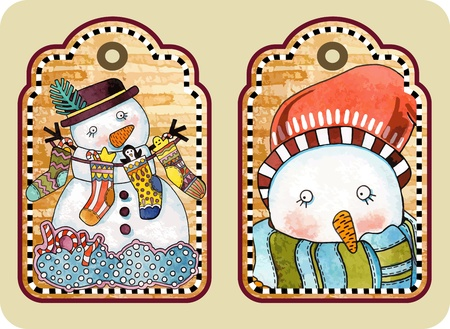 hand draw sketchy christmas tags with happy snowman