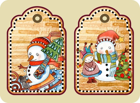 hand draw sketchy christmas tags with happy snowman Illustration
