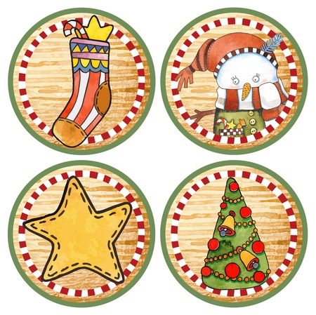 hand draw sketch christmas circle label design element  Vector