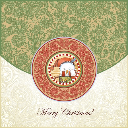 hand draw ornate christmas vintage template with snowman Vector