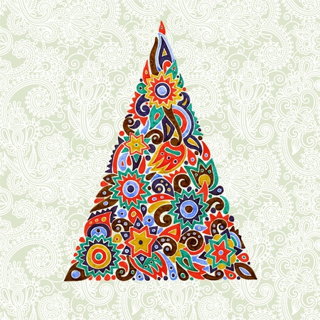 marker drawing christmas tree in ornate background. Vector illustration  Vector
