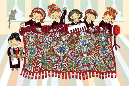 handicrafts: Cute girls working at the hand-loom weaving. Manufacturing and hand made theme. Artistic vector illustration