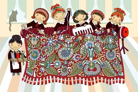 Leuke meisjes aan de hand weefgetouw weven. Productie en met de hand gemaakt thema. Artistieke vector illustratie