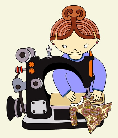 handicrafts: Woman seamstress work on the sewing-machine. Vector illustration