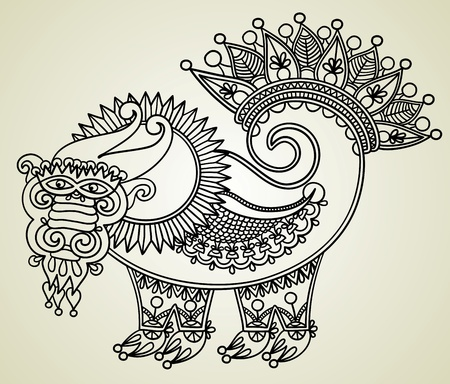 hand draw sketch unique dragon, symbol of 2012 year. Ukrainian traditional style. Stock Vector - 11638949