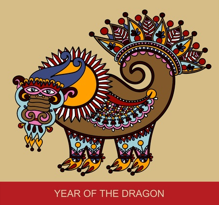 hand draw sketch unique dragon, symbol of 2012 year. Ukrainian traditional style.  Vector