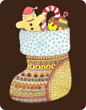 christmas watercolor: hand draw ornate gift christmas watercolor sock